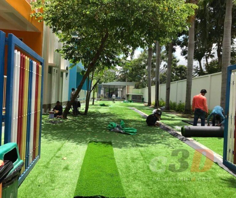Thảm cỏ nhân tạo trang trí trường mầm non quốc tế Kinder Star Quận 7