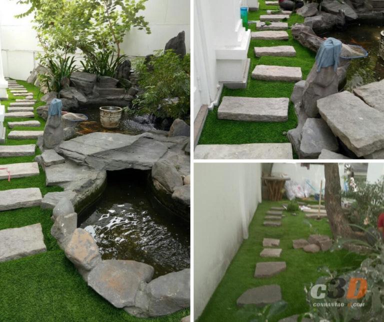 Thi công trải cỏ nhân tạo sân vườn