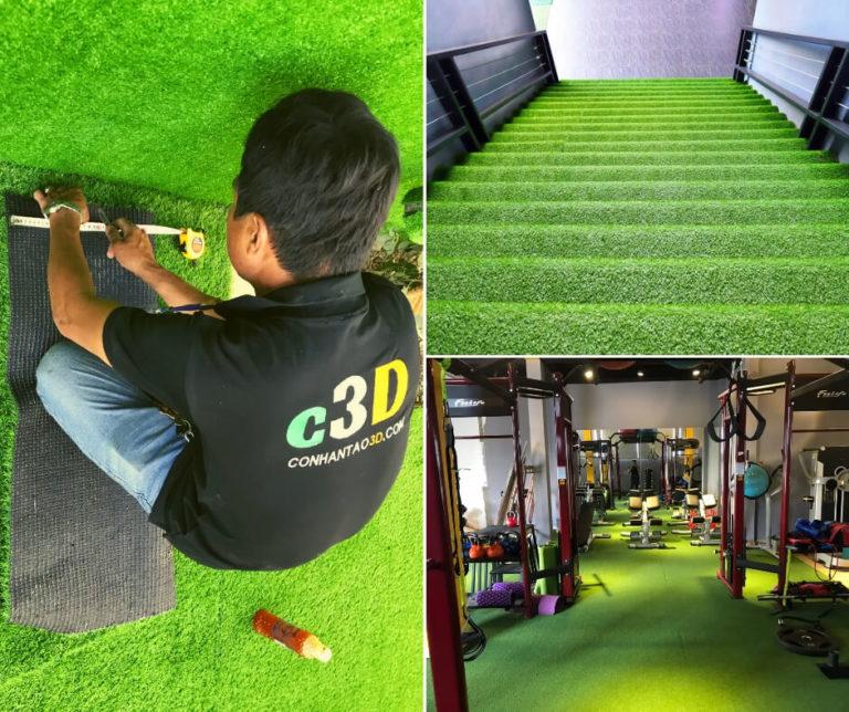 Thi công thảm cỏ nhân tạo sân vườn