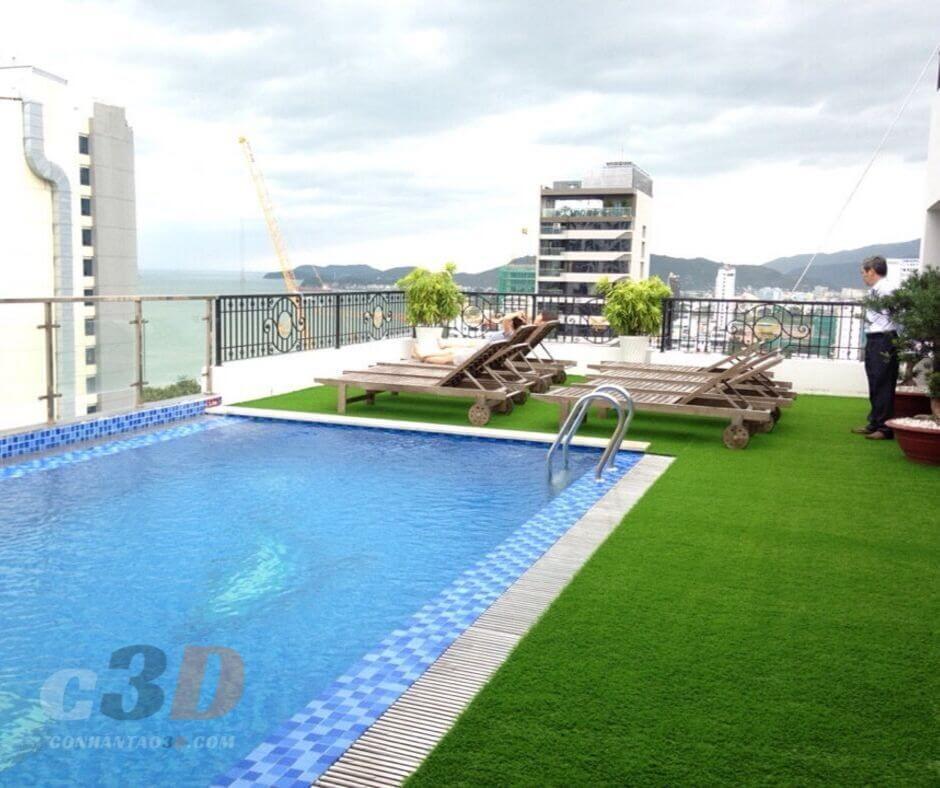 Thảm cỏ nhân tạo trang trí hồ bơi