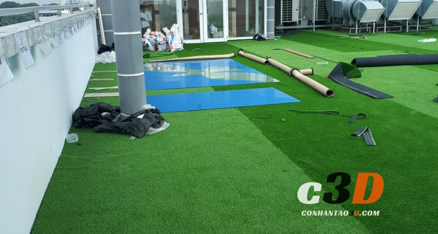 Thảm cỏ nhân tạo sân vườn đưa vào sử dụng