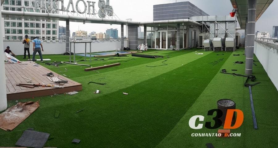 Thảm cỏ nhân tạo trang trí 2 màu