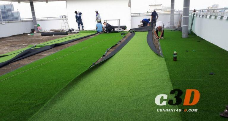 Thảm cỏ nhân tạo trang trí sân thượng