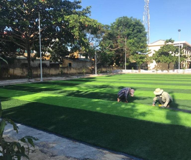 Thi công sân bóng đá cỏ nhân tạo Bình Phước