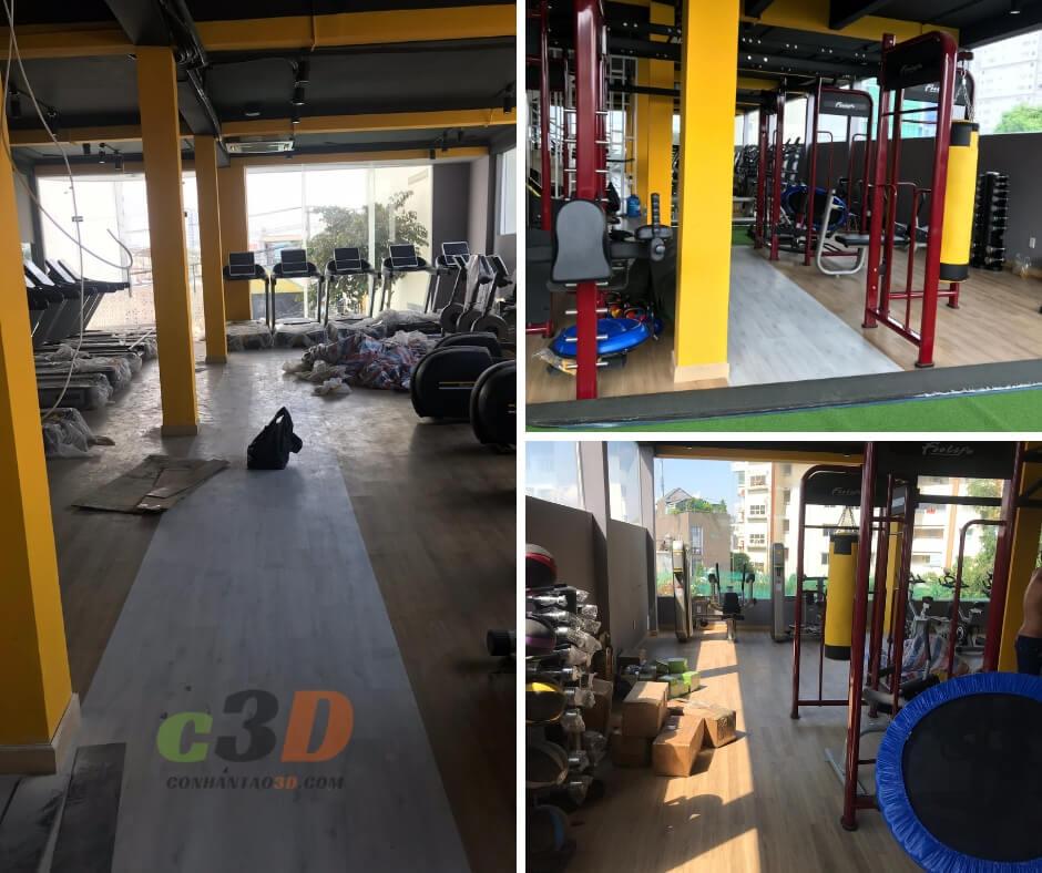 Thi công thảm cỏ nhân tạo phòng gym AT Nguyễn Xí